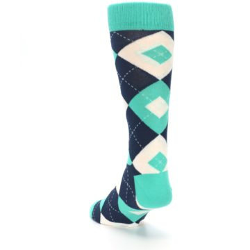Image of Turquoise Navy Argyle Wedding Groomsmen Men's Dress Socks (side-2-back-16)
