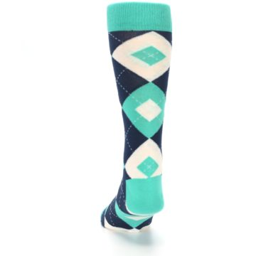 Image of Turquoise Navy Argyle Wedding Groomsmen Men's Dress Socks (back-17)