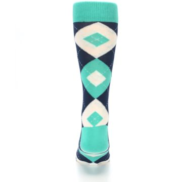 Image of Turquoise Navy Argyle Wedding Groomsmen Men's Dress Socks (back-18)