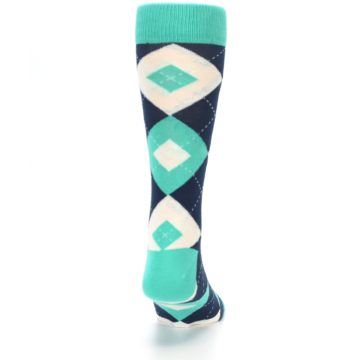 Image of Turquoise Navy Argyle Wedding Groomsmen Men's Dress Socks (back-19)