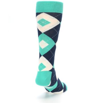 Image of Turquoise Navy Argyle Wedding Groomsmen Men's Dress Socks (side-1-back-20)