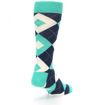 Image of Turquoise Navy Argyle Wedding Groomsmen Men's Dress Socks (side-1-back-21)