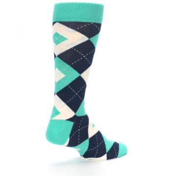 Image of Turquoise Navy Argyle Wedding Groomsmen Men's Dress Socks (side-1-back-22)