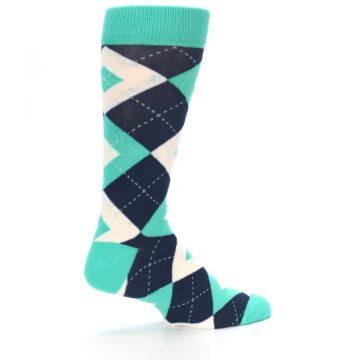 Image of Turquoise Navy Argyle Wedding Groomsmen Men's Dress Socks (side-1-23)