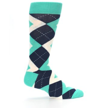 Image of Turquoise Navy Argyle Wedding Groomsmen Men's Dress Socks (side-1-24)