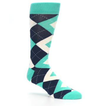 Image of Turquoise Navy Argyle Wedding Groomsmen Men's Dress Socks (side-1-26)