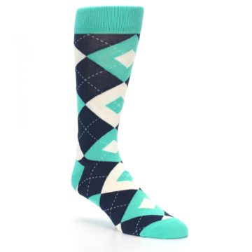 Image of Turquoise Navy Argyle Wedding Groomsmen Men's Dress Socks (side-1-27)