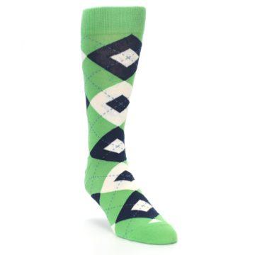Image of Clover Green Navy Argyle Men's Dress Socks (side-1-front-02)