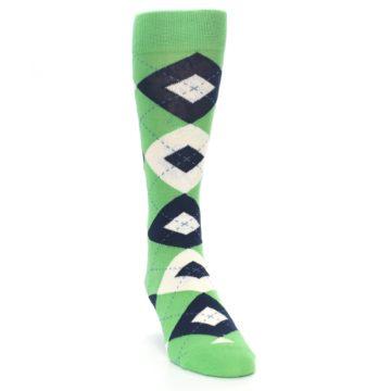 Image of Clover Green Navy Argyle Men's Dress Socks (side-1-front-03)