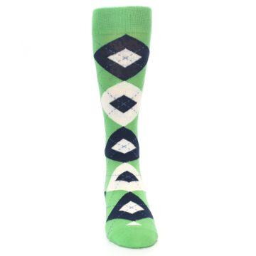 Image of Clover Green Navy Argyle Men's Dress Socks (front-04)