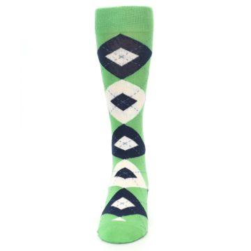 Image of Clover Green Navy Argyle Men's Dress Socks (front-05)