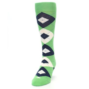 Image of Clover Green Navy Argyle Men's Dress Socks (side-2-front-06)