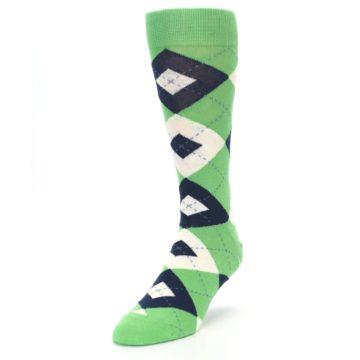 Image of Clover Green Navy Argyle Men's Dress Socks (side-2-front-07)