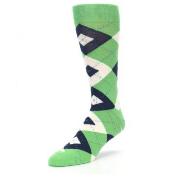 Image of Clover Green Navy Argyle Men's Dress Socks (side-2-front-08)