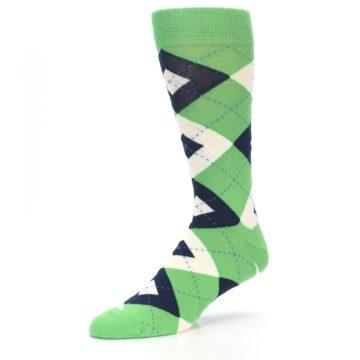 Image of Clover Green Navy Argyle Men's Dress Socks (side-2-09)
