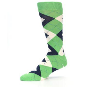 Image of Clover Green Navy Argyle Men's Dress Socks (side-2-10)