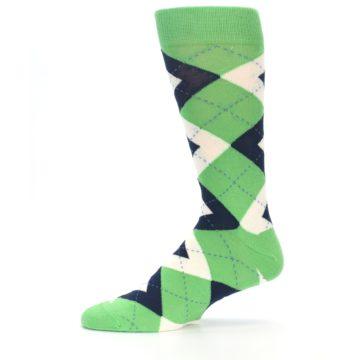 Image of Clover Green Navy Argyle Men's Dress Socks (side-2-11)