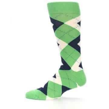 Image of Clover Green Navy Argyle Men's Dress Socks (side-2-12)