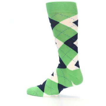 Image of Clover Green Navy Argyle Men's Dress Socks (side-2-13)