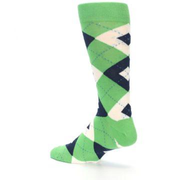 Image of Clover Green Navy Argyle Men's Dress Socks (side-2-back-14)