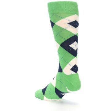 Image of Clover Green Navy Argyle Men's Dress Socks (side-2-back-15)