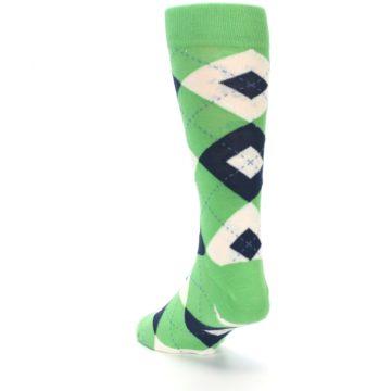 Image of Clover Green Navy Argyle Men's Dress Socks (side-2-back-16)