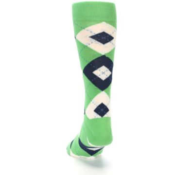 Image of Clover Green Navy Argyle Men's Dress Socks (back-17)