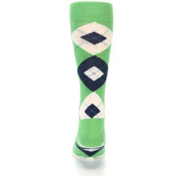 Image of Clover Green Navy Argyle Men's Dress Socks (back-18)