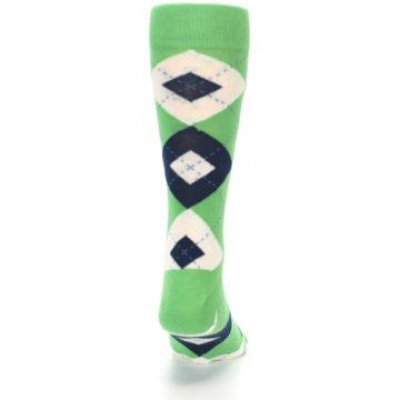 Image of Clover Green Navy Argyle Men's Dress Socks (back-19)