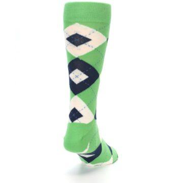 Image of Clover Green Navy Argyle Men's Dress Socks (side-1-back-20)