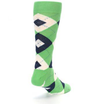 Image of Clover Green Navy Argyle Men's Dress Socks (side-1-back-21)