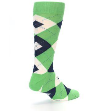 Image of Clover Green Navy Argyle Men's Dress Socks (side-1-back-22)