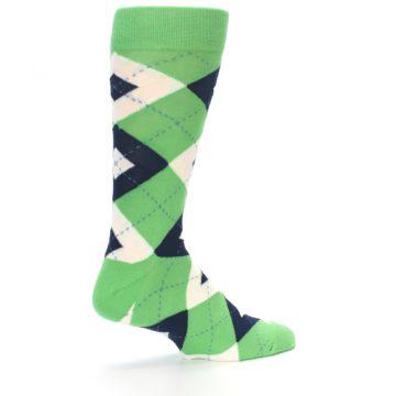 Image of Clover Green Navy Argyle Men's Dress Socks (side-1-23)