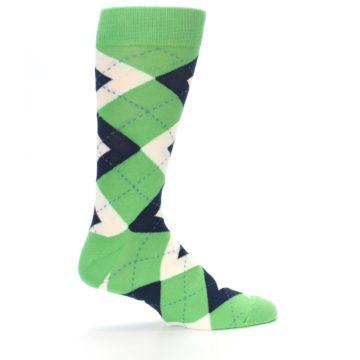 Image of Clover Green Navy Argyle Men's Dress Socks (side-1-24)