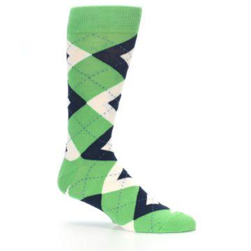 Image of Clover Green Navy Argyle Men's Dress Socks (side-1-25)