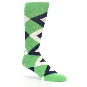 Image of Clover Green Navy Argyle Men's Dress Socks (side-1-26)