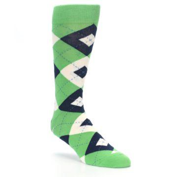 Image of Clover Green Navy Argyle Men's Dress Socks (side-1-27)