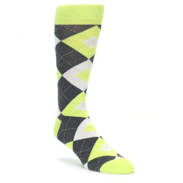 Lime Green Argyle Wedding Socks for Groomsmen