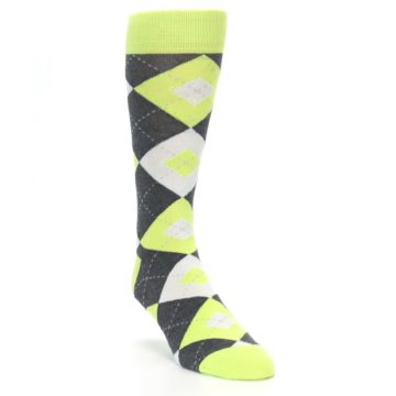 Image of Lime Gray Argyle Men's Dress Socks (side-1-front-02)