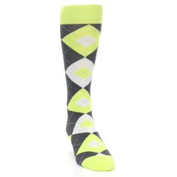 Image of Lime Gray Argyle Men's Dress Socks (side-1-front-03)