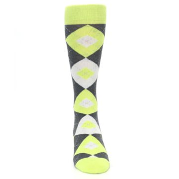 Image of Lime Gray Argyle Men's Dress Socks (front-04)