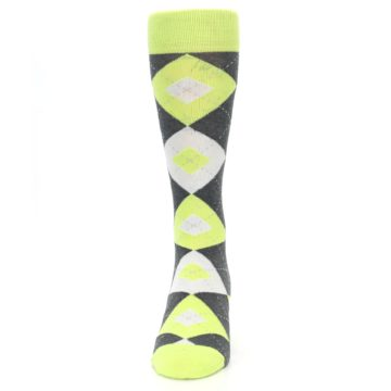 Image of Lime Gray Argyle Men's Dress Socks (front-05)
