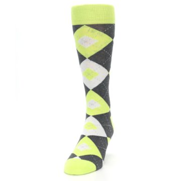 Image of Lime Gray Argyle Men's Dress Socks (side-2-front-06)