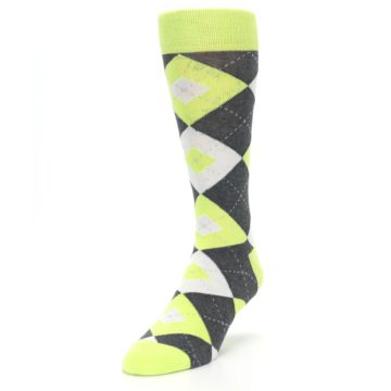 Image of Lime Gray Argyle Men's Dress Socks (side-2-front-07)