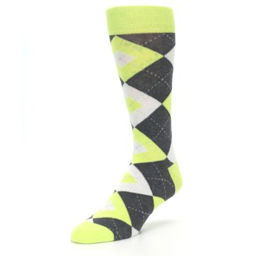 Image of Lime Gray Argyle Men's Dress Socks (side-2-front-08)