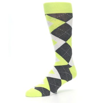 Image of Lime Gray Argyle Men's Dress Socks (side-2-09)