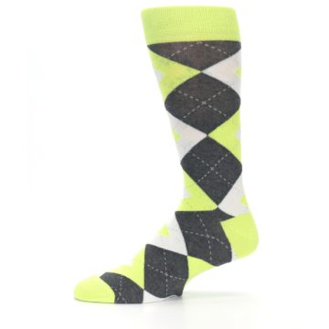 Image of Lime Gray Argyle Men's Dress Socks (side-2-11)