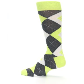 Image of Lime Gray Argyle Men's Dress Socks (side-2-13)