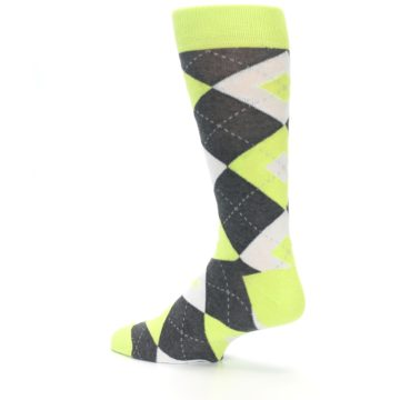 Image of Lime Gray Argyle Men's Dress Socks (side-2-back-14)