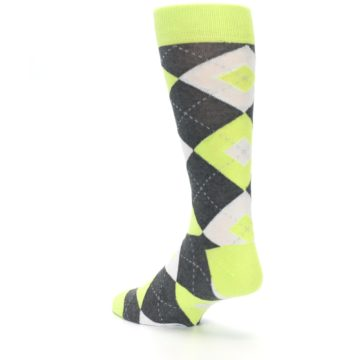 Image of Lime Gray Argyle Men's Dress Socks (side-2-back-15)